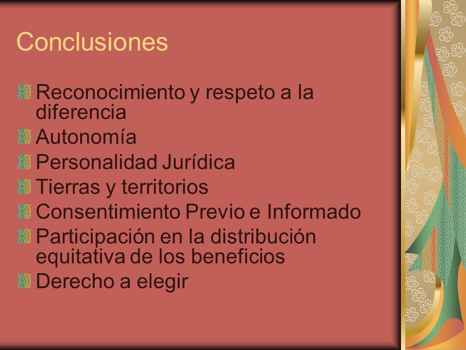 Conclusiones Reconocimiento y respeto a la diferencia Autonomía