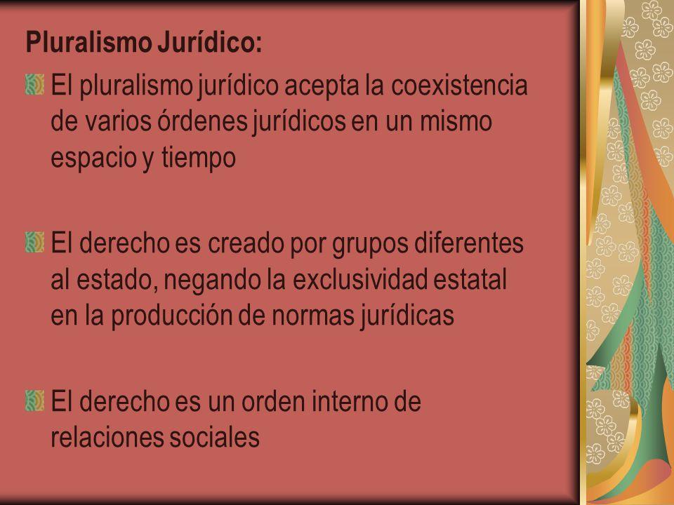 Pluralismo Jurídico: El pluralismo jurídico acepta la coexistencia de varios órdenes jurídicos en un mismo espacio y tiempo.