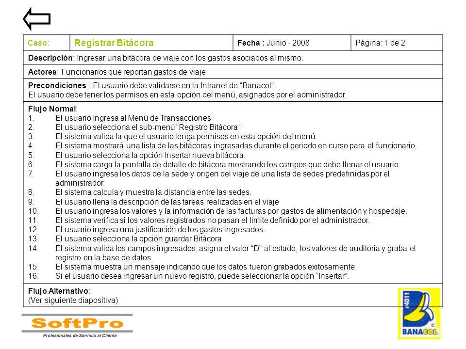 Registrar Bitácora Caso: Fecha : Junio - 2008 Página: 1 de 2