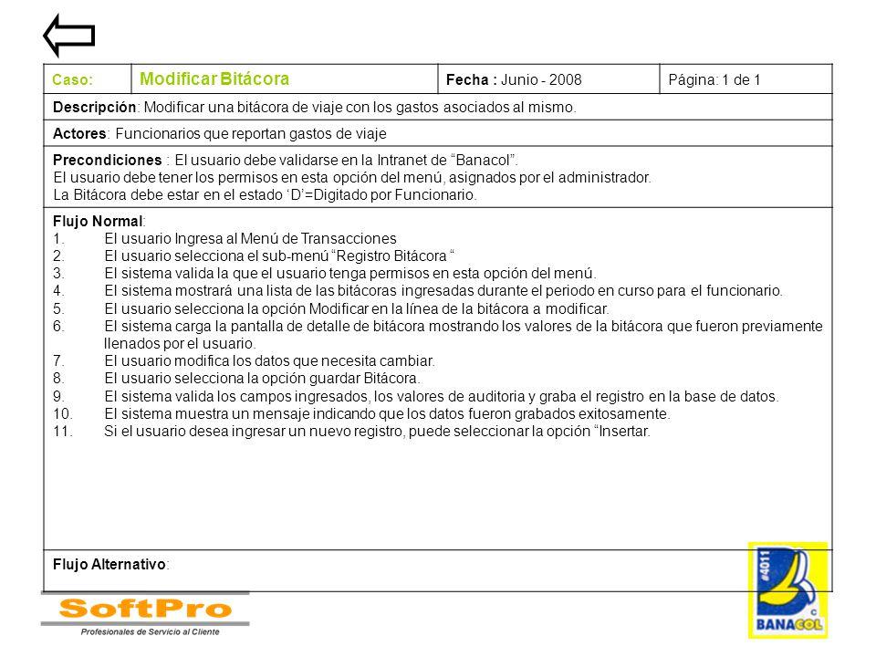 Modificar Bitácora Caso: Fecha : Junio - 2008 Página: 1 de 1