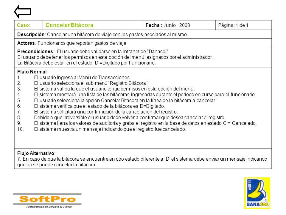 Cancelar Bitácora Caso: Fecha : Junio - 2008 Página: 1 de 1