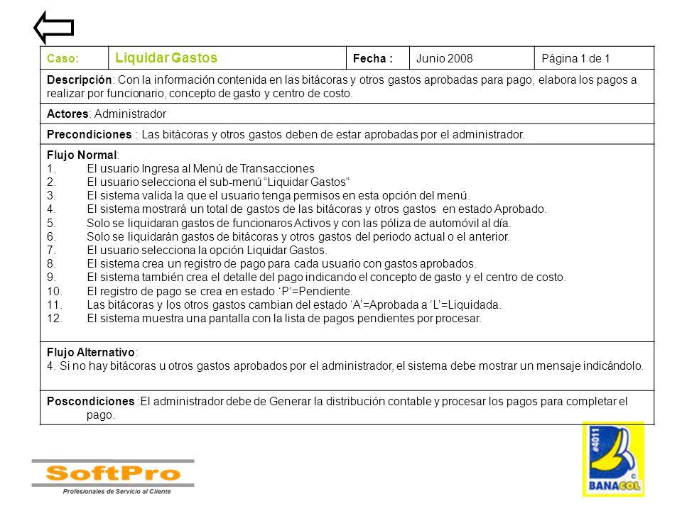 Liquidar Gastos Caso: Fecha : Junio 2008 Página 1 de 1