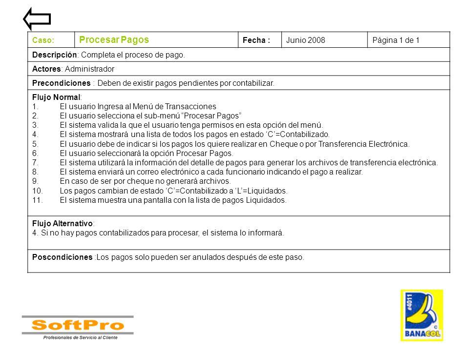 Procesar Pagos Caso: Fecha : Junio 2008 Página 1 de 1