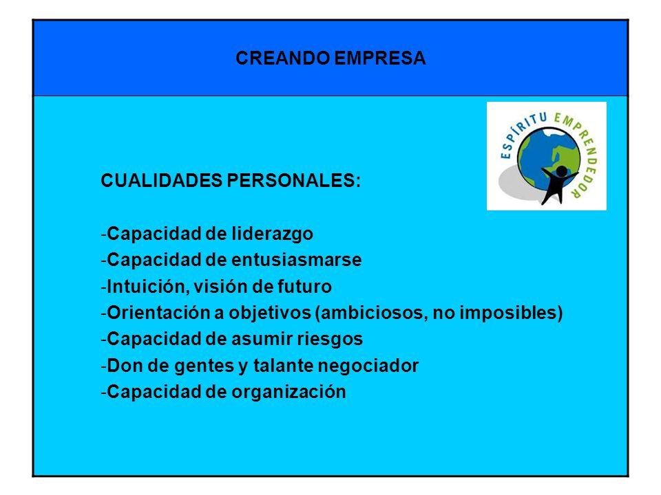CREANDO EMPRESA CUALIDADES PERSONALES: Capacidad de liderazgo. Capacidad de entusiasmarse. Intuición, visión de futuro.