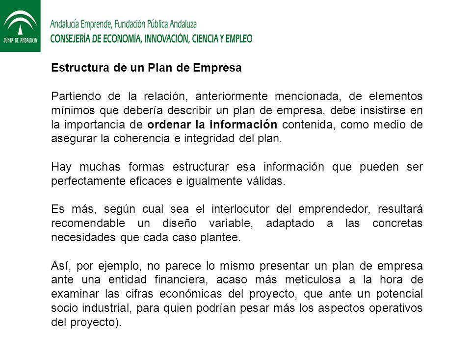 Estructura de un Plan de Empresa