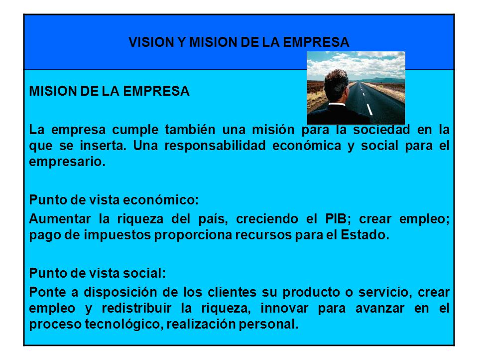 VISION Y MISION DE LA EMPRESA