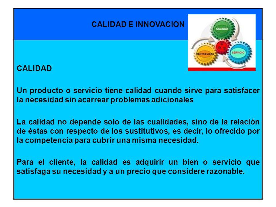 CALIDAD E INNOVACION CALIDAD. Un producto o servicio tiene calidad cuando sirve para satisfacer la necesidad sin acarrear problemas adicionales.