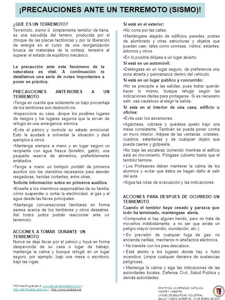 ¡PRECAUCIONES ANTE UN TERREMOTO (SISMO)!