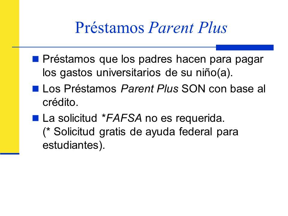Préstamos Parent Plus Préstamos que los padres hacen para pagar los gastos universitarios de su niño(a).