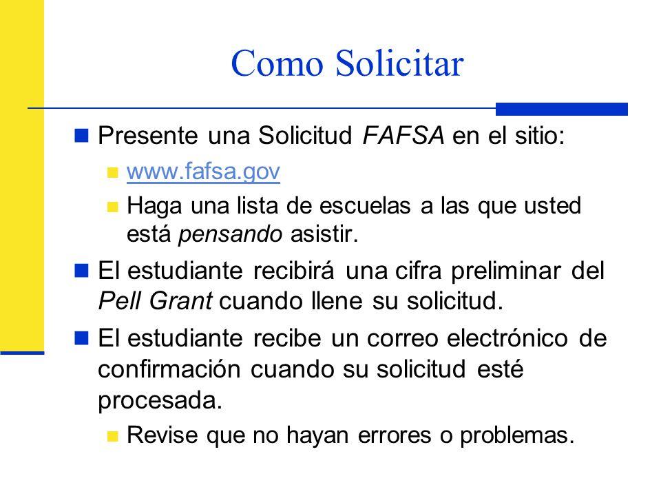 Como Solicitar Presente una Solicitud FAFSA en el sitio: