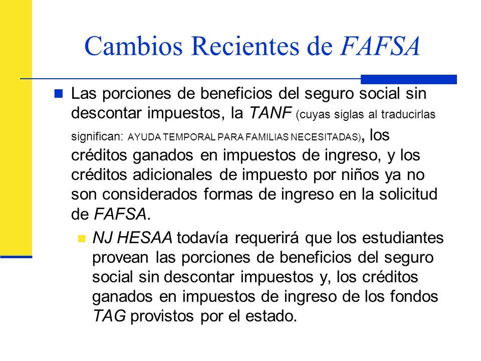 Cambios Recientes de FAFSA
