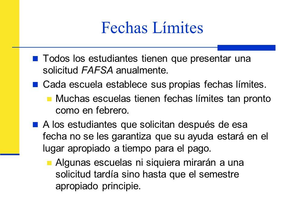 Fechas Límites Todos los estudiantes tienen que presentar una solicitud FAFSA anualmente. Cada escuela establece sus propias fechas límites.