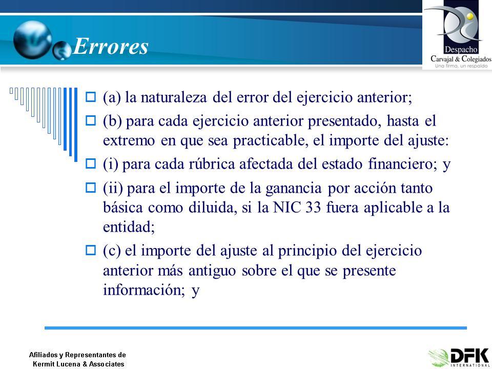 Errores (a) la naturaleza del error del ejercicio anterior;