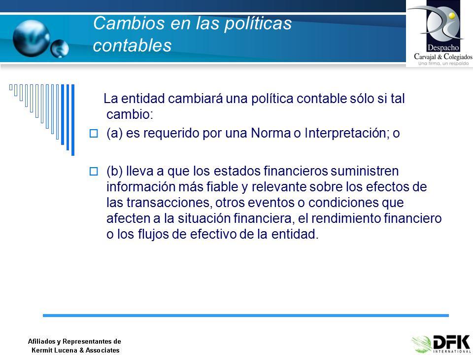 Cambios en las políticas contables