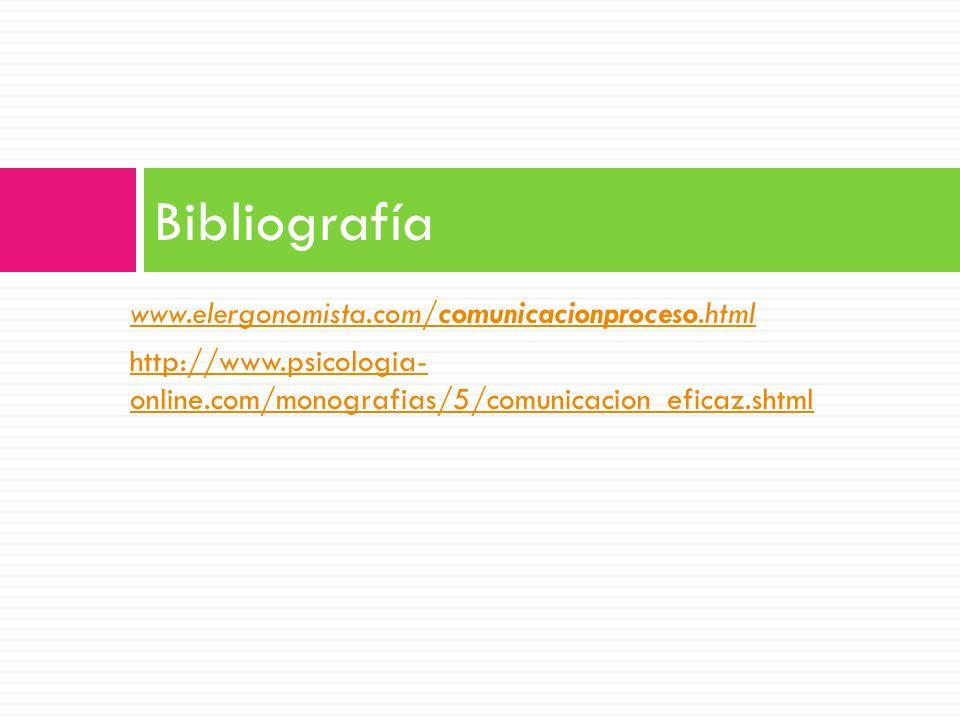 Bibliografía www.elergonomista.com/comunicacionproceso.html
