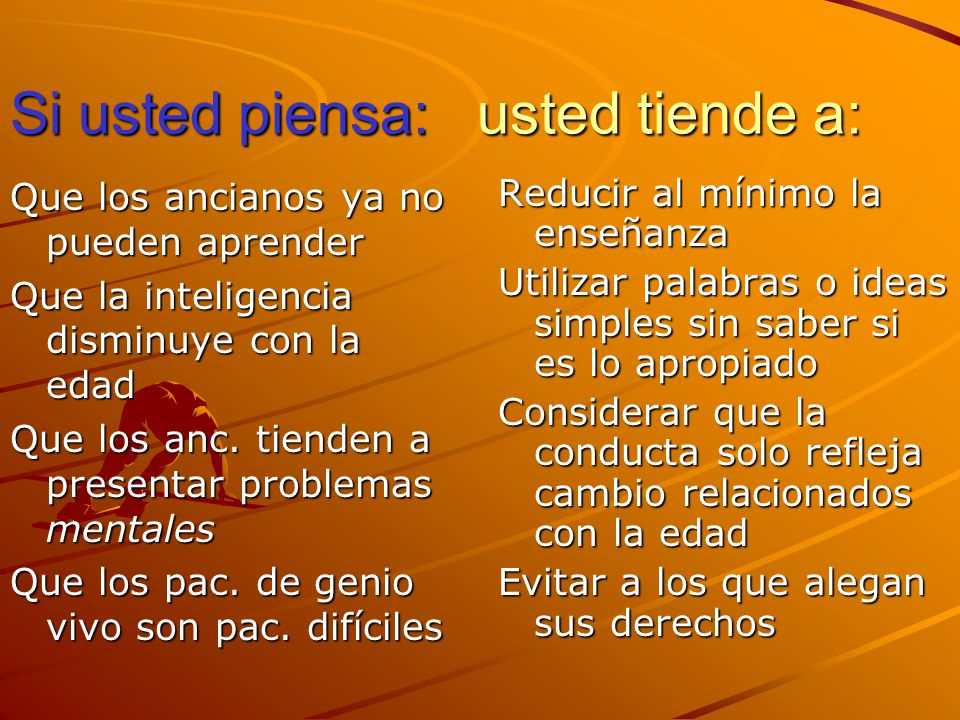 Si usted piensa: usted tiende a: