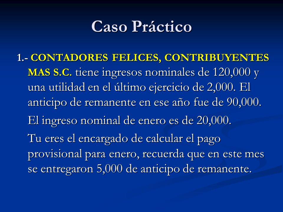 Caso Práctico El ingreso nominal de enero es de 20,000.