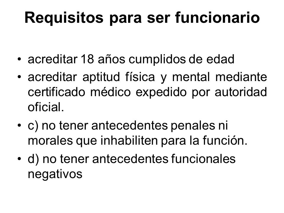 Requisitos para ser funcionario