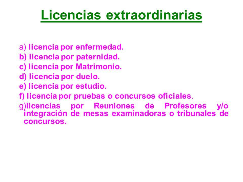 Licencias extraordinarias
