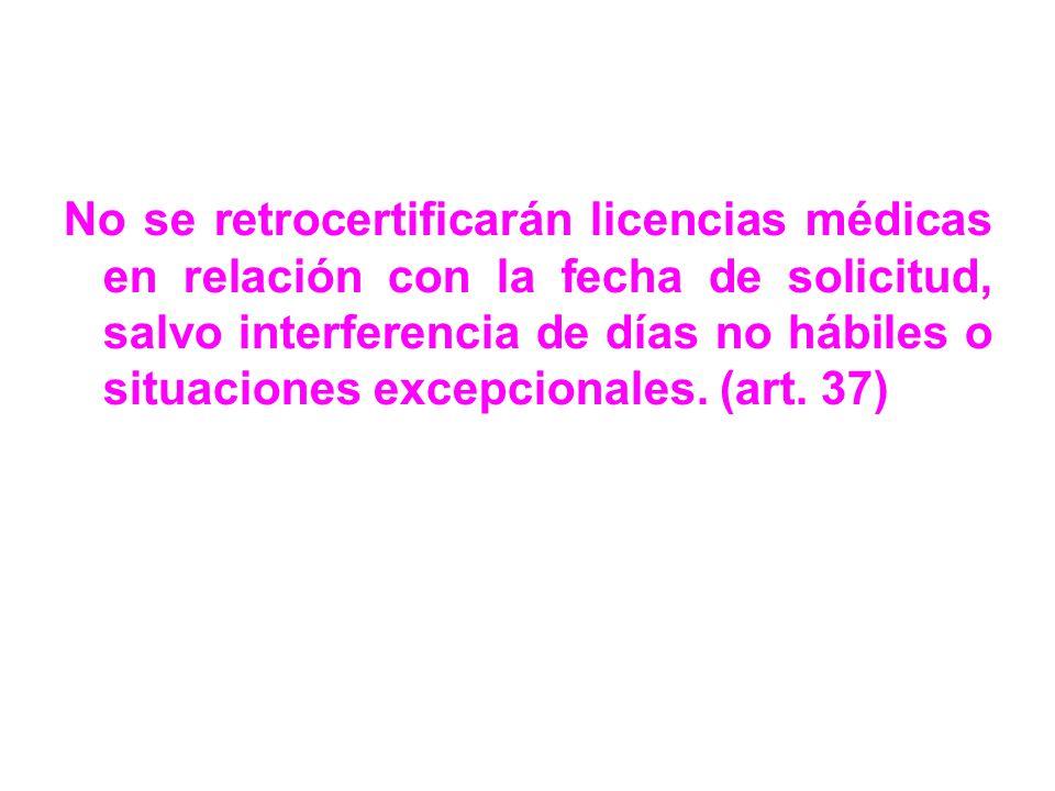 No se retrocertificarán licencias médicas en relación con la fecha de solicitud, salvo interferencia de días no hábiles o situaciones excepcionales.