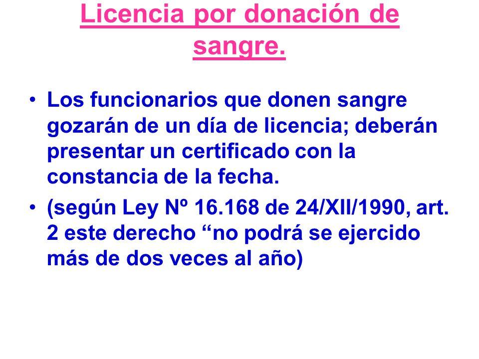 Licencia por donación de sangre.