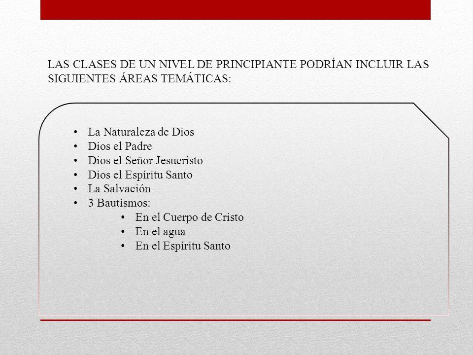 LAS CLASES DE UN NIVEL DE PRINCIPIANTE PODRÍAN INCLUIR LAS SIGUIENTES ÁREAS TEMÁTICAS: