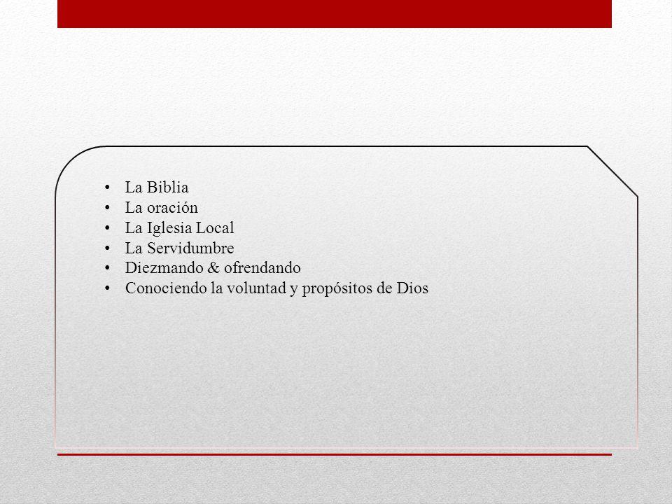 La Biblia La oración. La Iglesia Local. La Servidumbre.