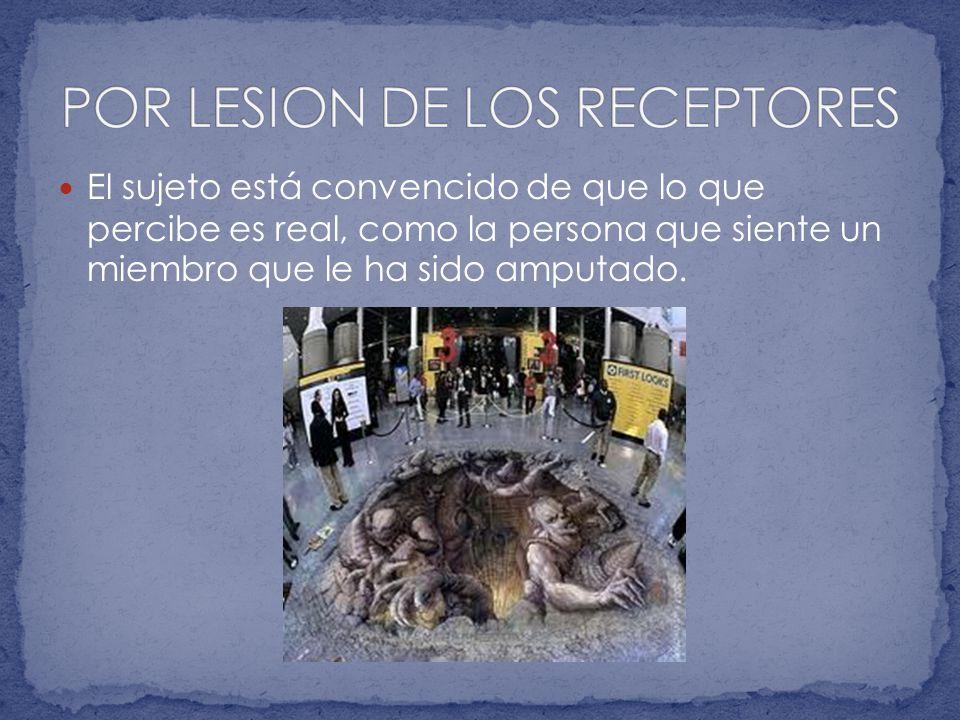 POR LESION DE LOS RECEPTORES