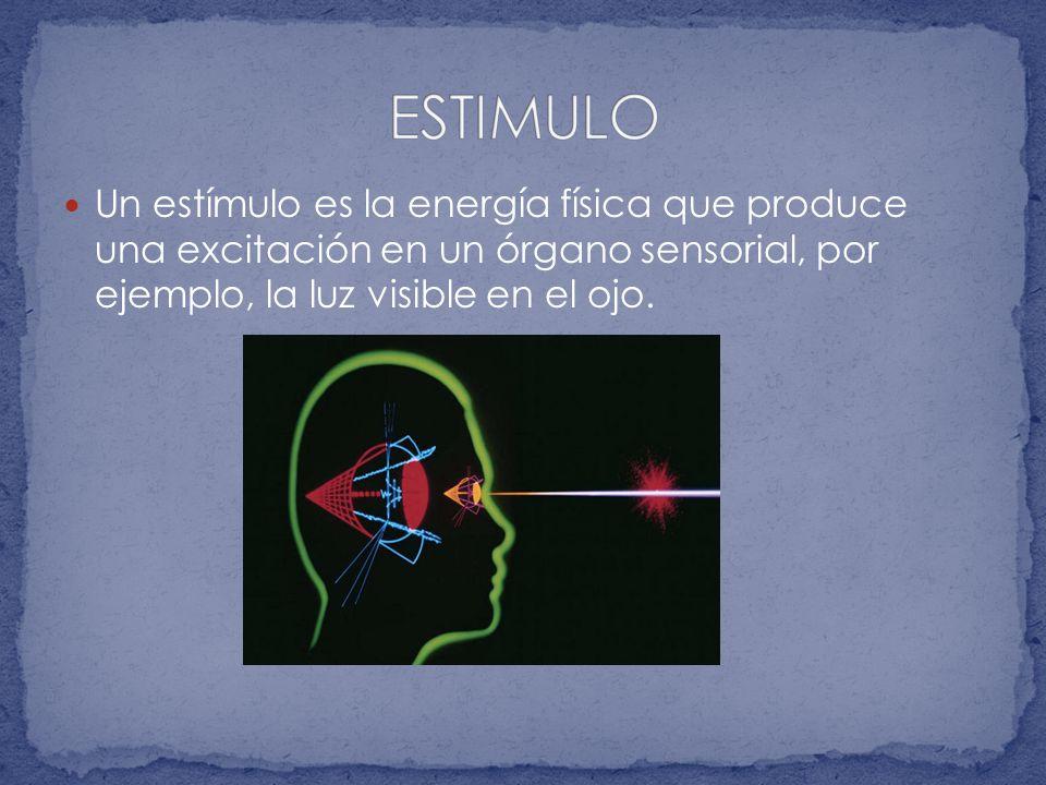 ESTIMULO Un estímulo es la energía física que produce una excitación en un órgano sensorial, por ejemplo, la luz visible en el ojo.