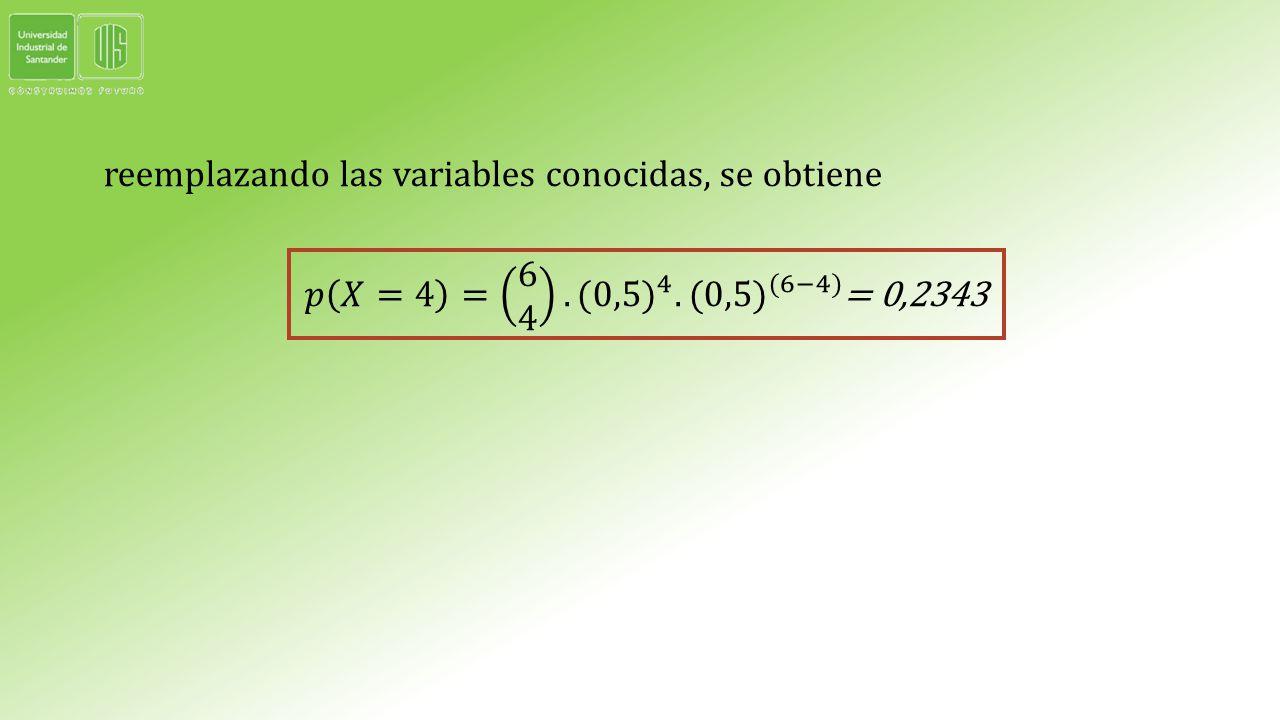 reemplazando las variables conocidas, se obtiene 𝑝 𝑋=4 = 6 4. (0,5) 4