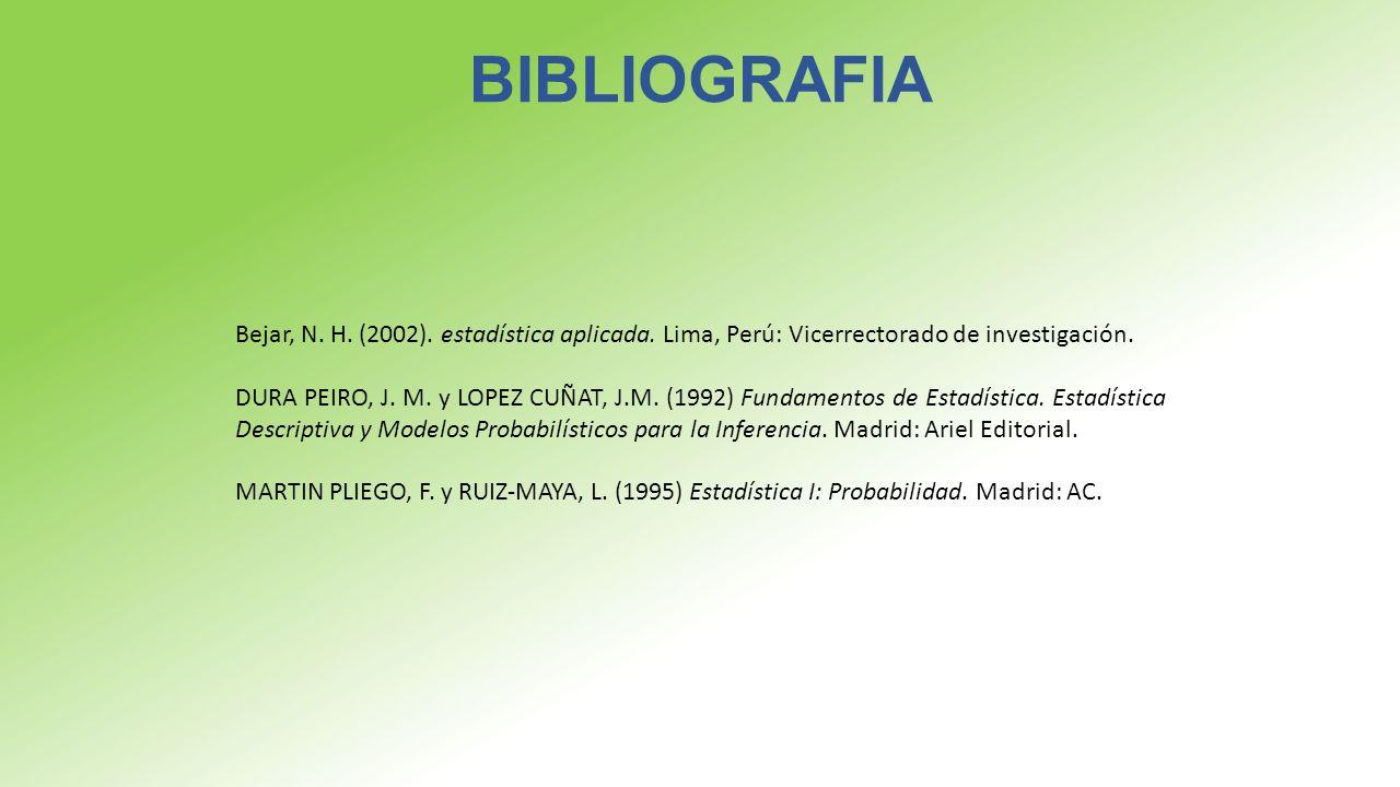 BIBLIOGRAFIA Bejar, N. H. (2002). estadística aplicada. Lima, Perú: Vicerrectorado de investigación.