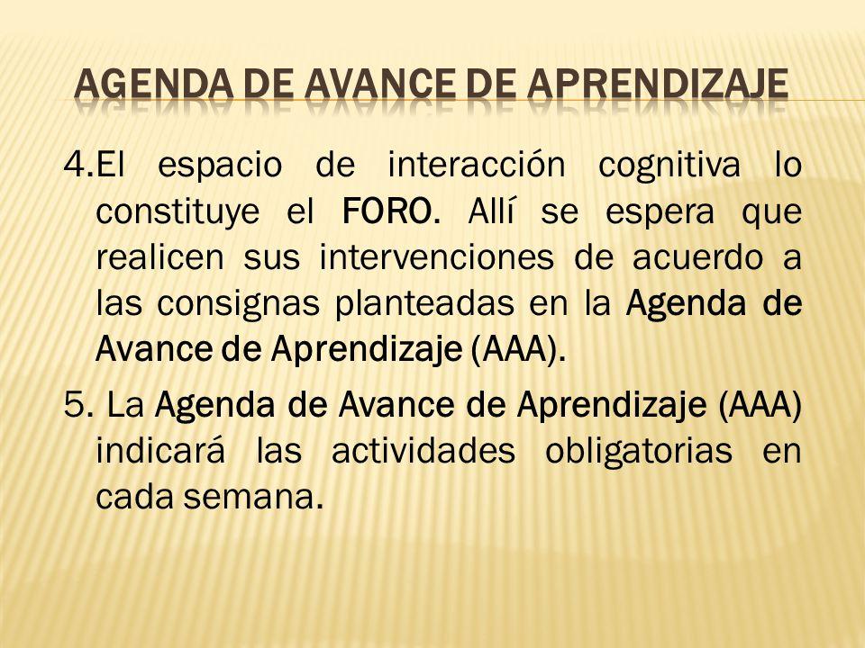 AGENDA DE AVANCE DE APRENDIZAJE