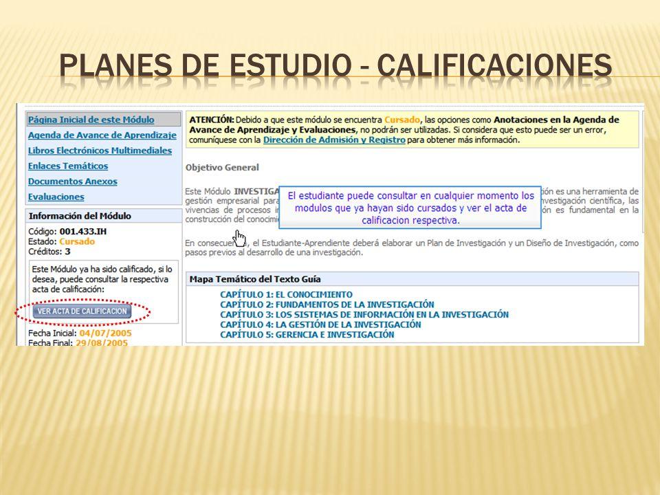 PLANES DE ESTUDIO - CALIFICACIONES