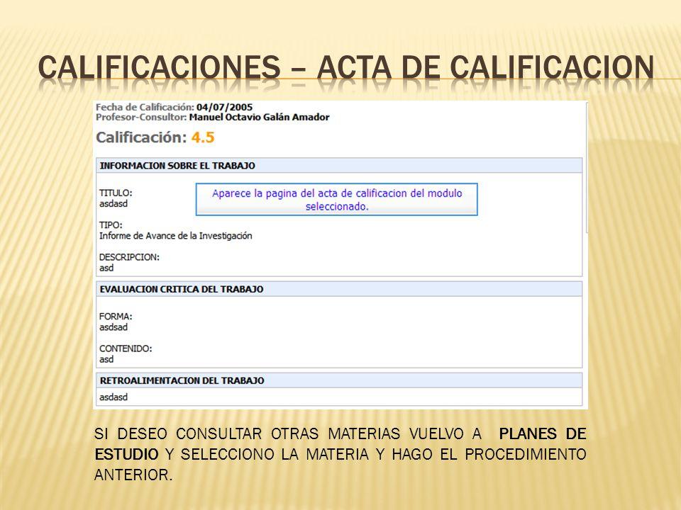 CALIFICACIONES – ACTA DE CALIFICACION