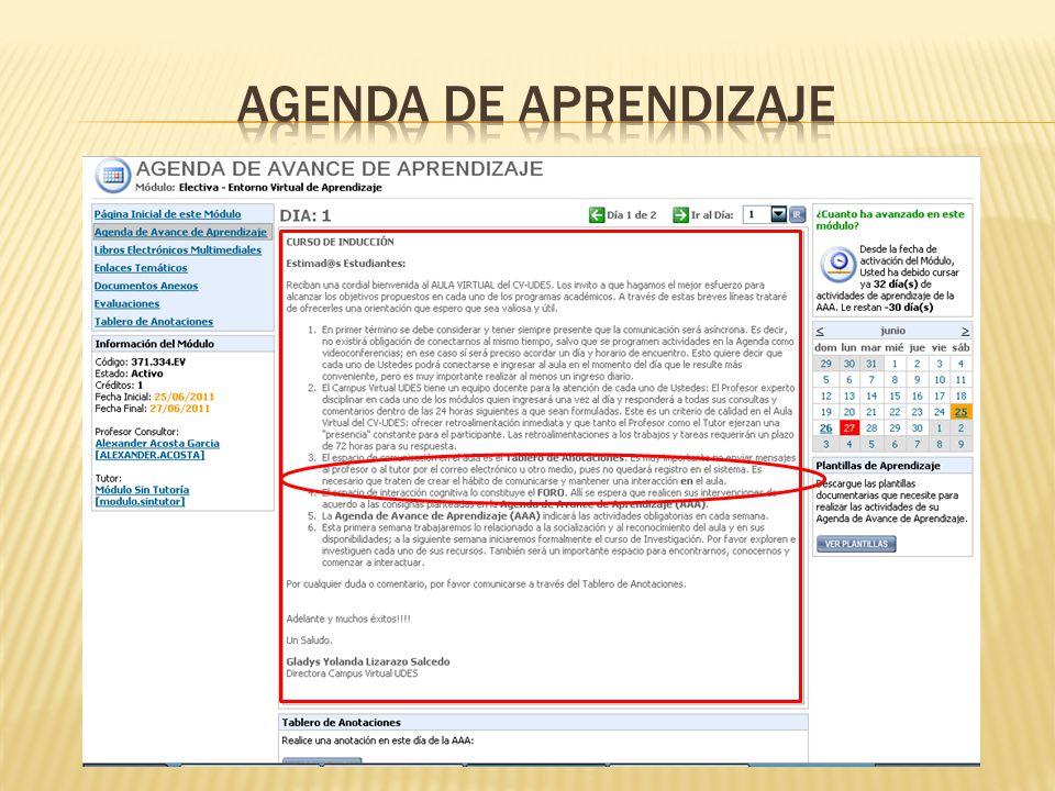 AGENDA DE APRENDIZAJE