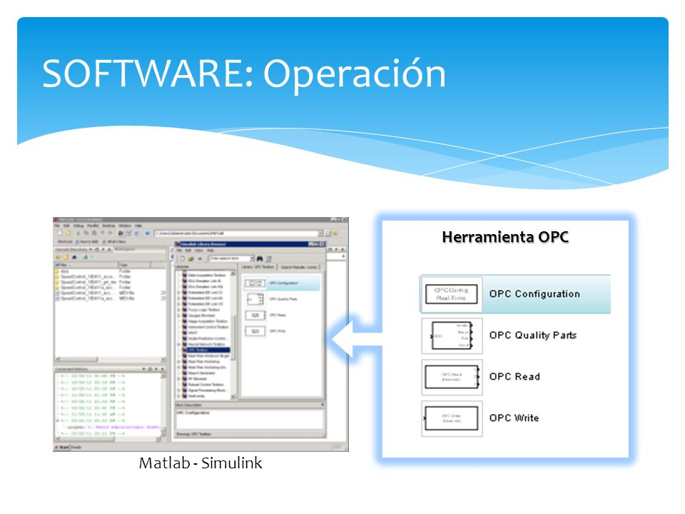 SOFTWARE: Operación Herramienta OPC Matlab - Simulink