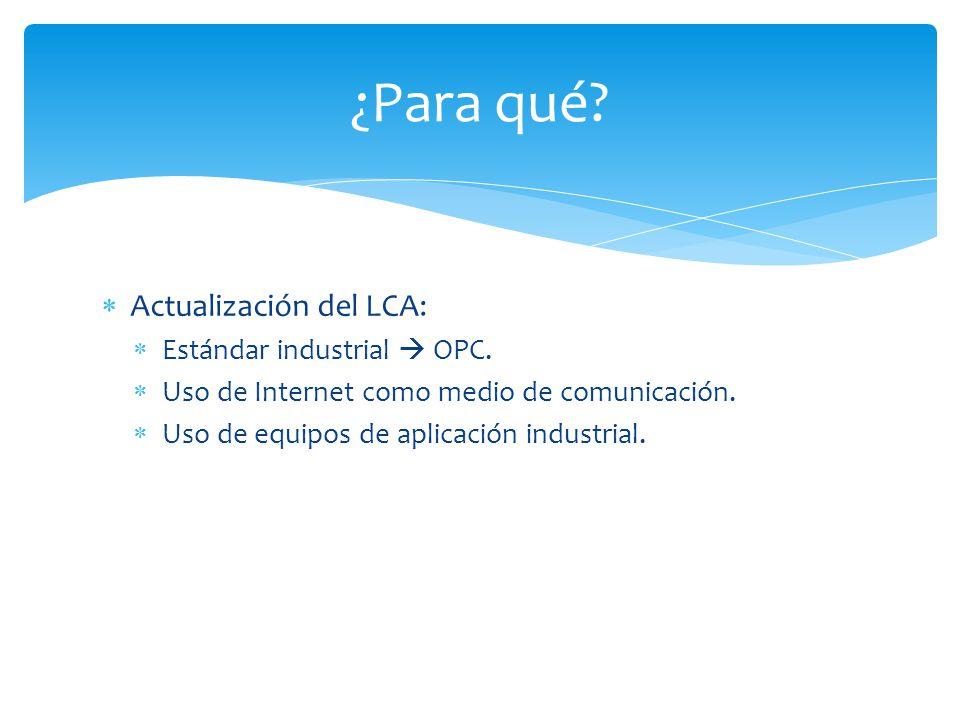 ¿Para qué Actualización del LCA: Estándar industrial  OPC.