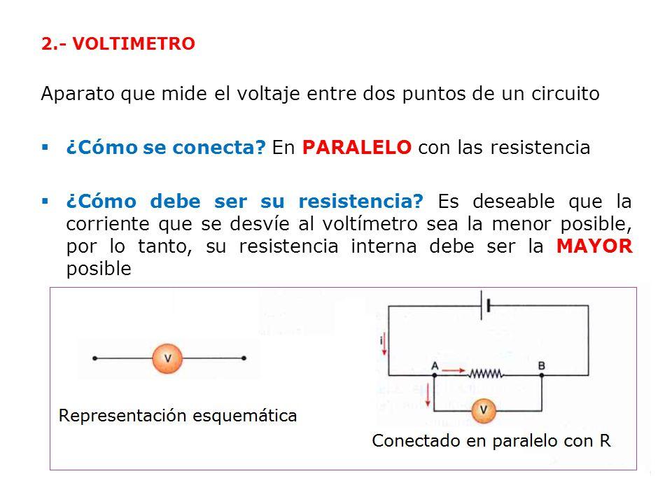 Aparato que mide el voltaje entre dos puntos de un circuito