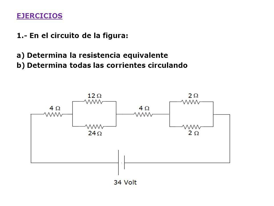EJERCICIOS 1.- En el circuito de la figura: Determina la resistencia equivalente.