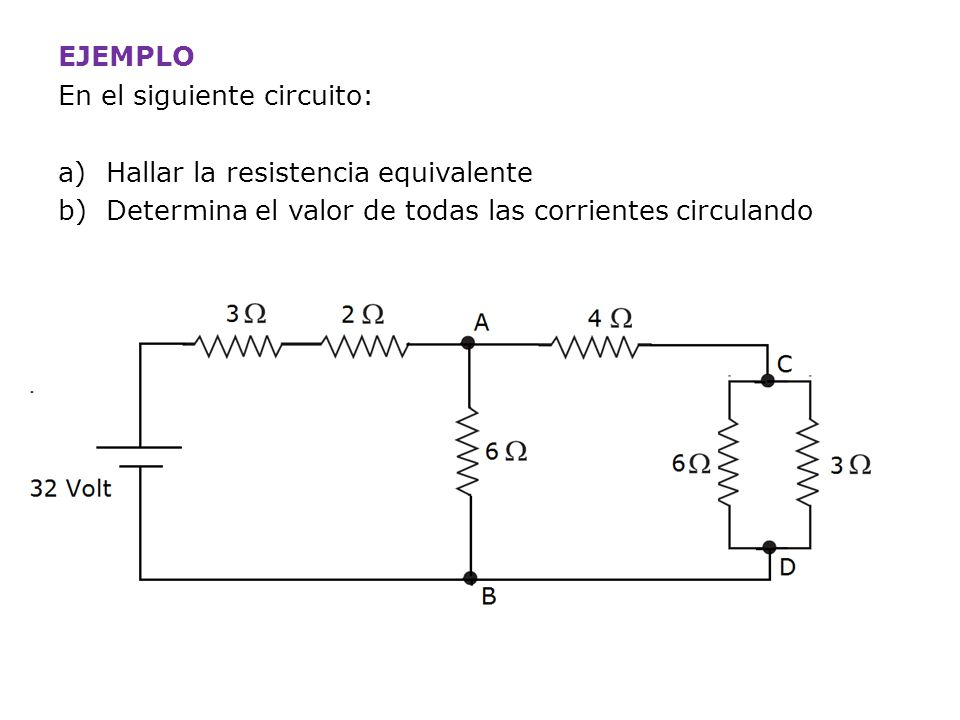 EJEMPLO En el siguiente circuito: Hallar la resistencia equivalente.