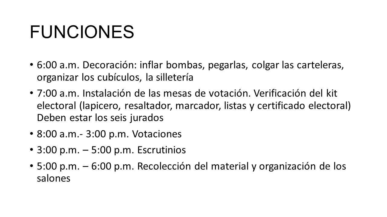 FUNCIONES 6:00 a.m. Decoración: inflar bombas, pegarlas, colgar las carteleras, organizar los cubículos, la silletería.