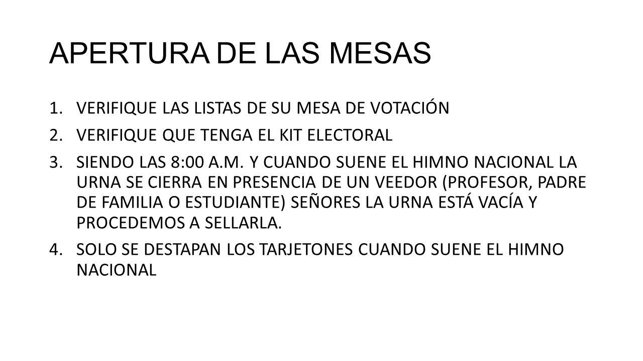 APERTURA DE LAS MESAS VERIFIQUE LAS LISTAS DE SU MESA DE VOTACIÓN