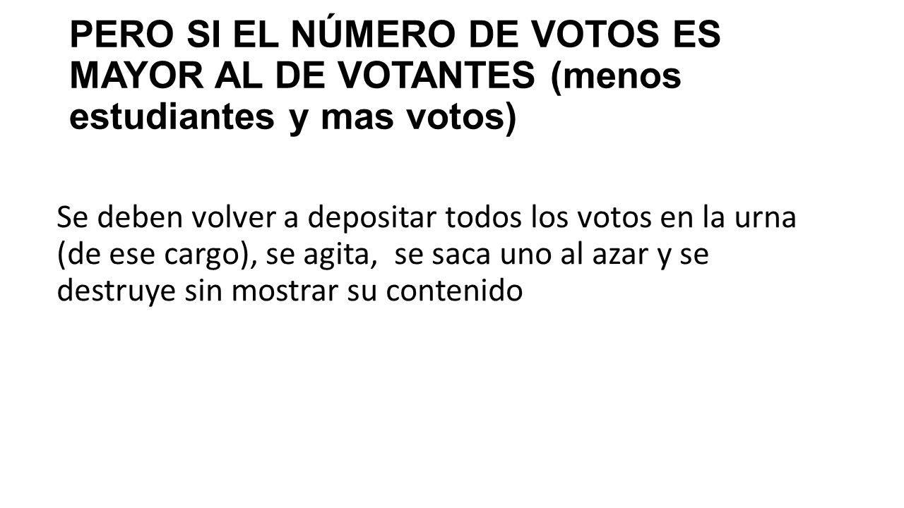 PERO SI EL NÚMERO DE VOTOS ES MAYOR AL DE VOTANTES (menos estudiantes y mas votos)