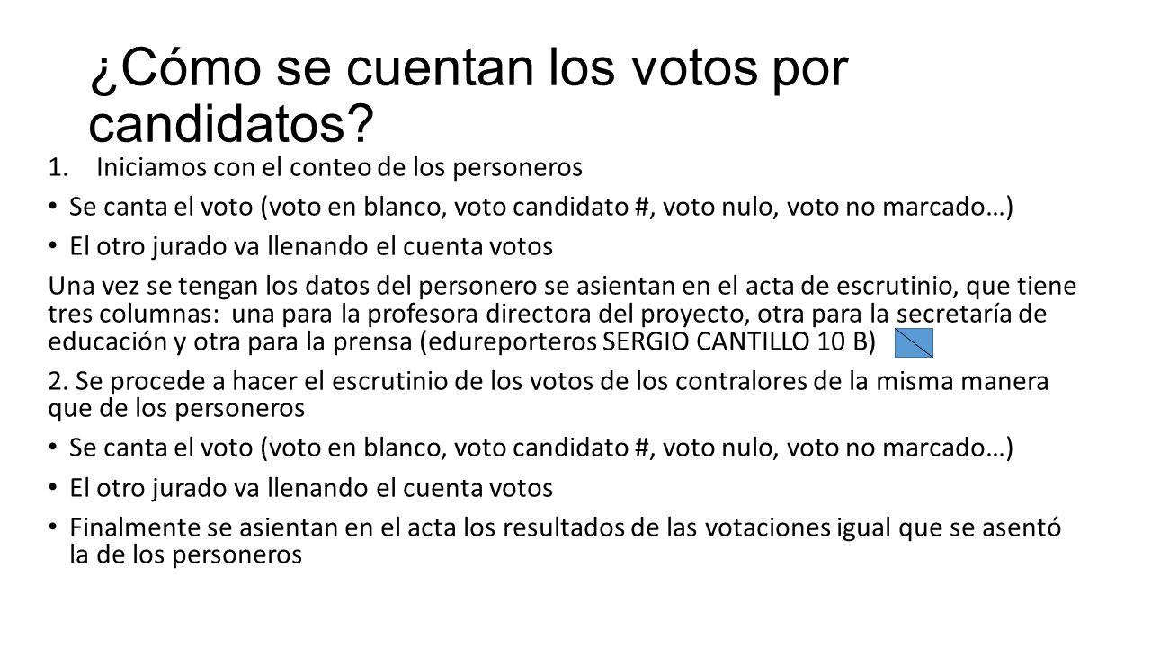 ¿Cómo se cuentan los votos por candidatos
