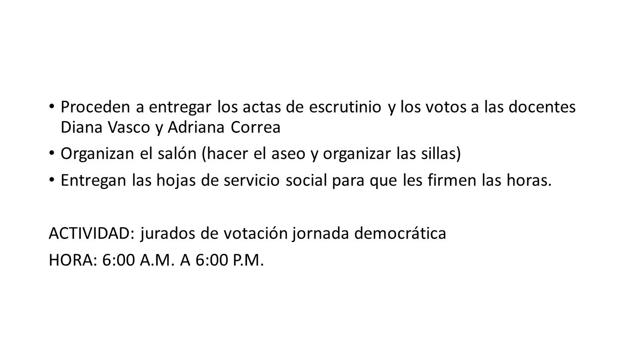 Proceden a entregar los actas de escrutinio y los votos a las docentes Diana Vasco y Adriana Correa