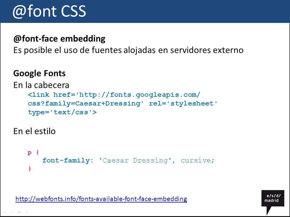@font CSS @font-face embedding