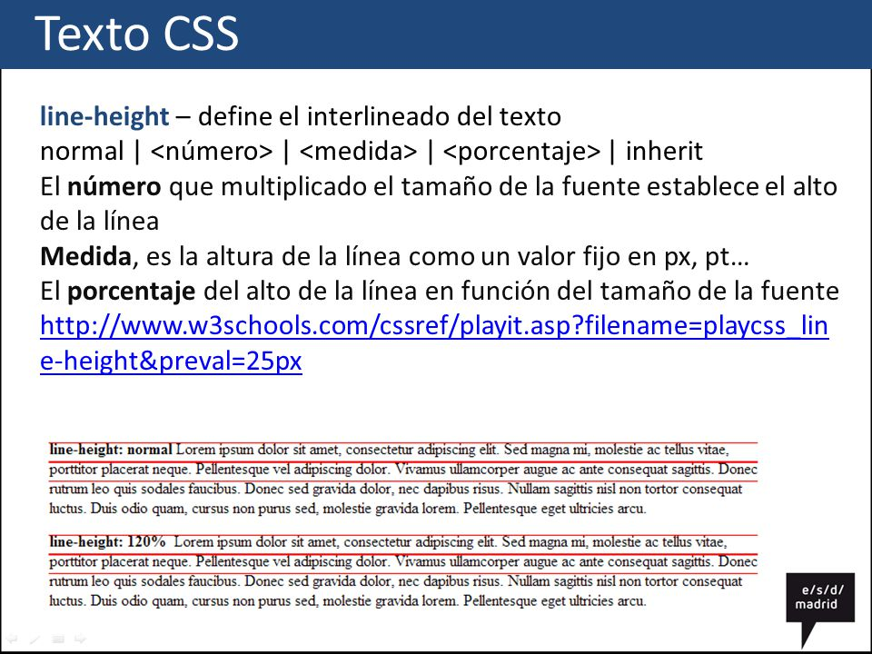 Texto CSS line-height – define el interlineado del texto