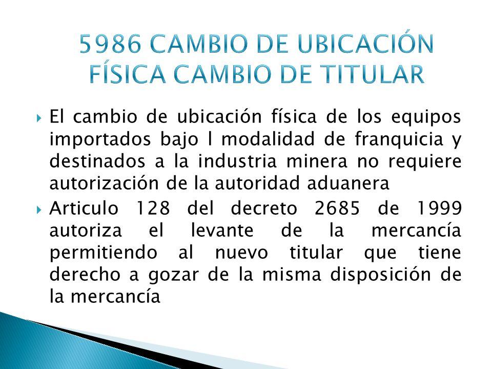 5986 CAMBIO DE UBICACIÓN FÍSICA CAMBIO DE TITULAR