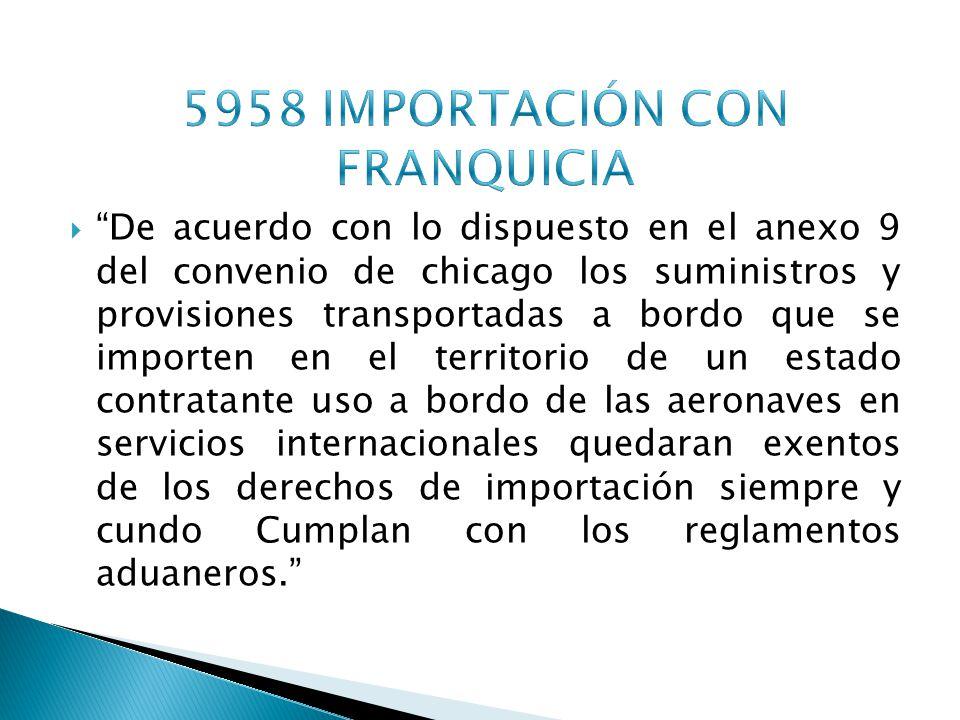 5958 IMPORTACIÓN CON FRANQUICIA