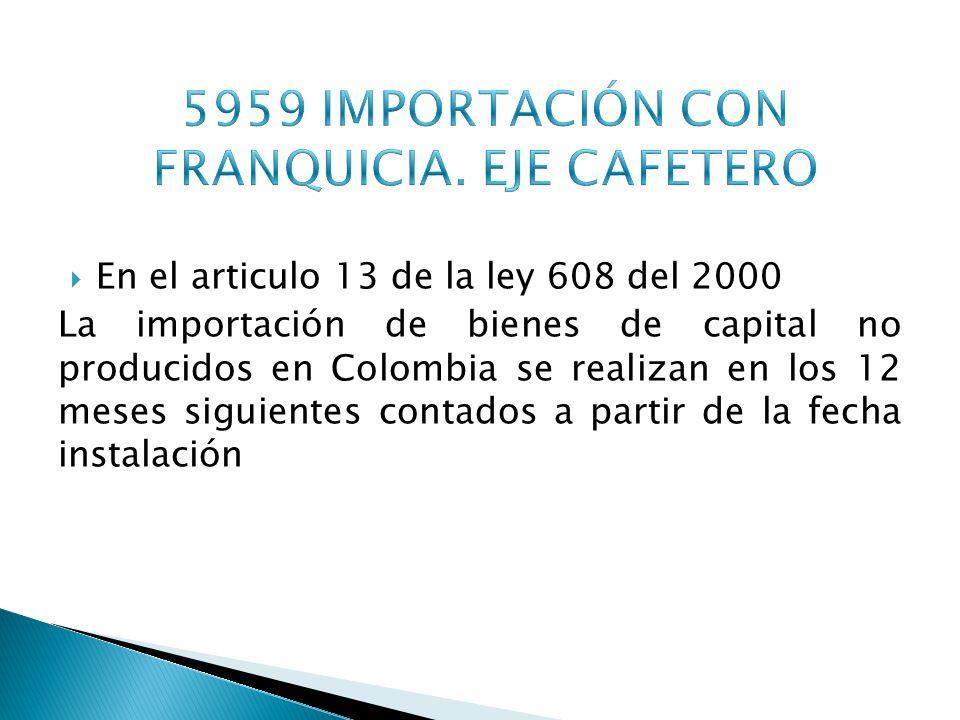 5959 IMPORTACIÓN CON FRANQUICIA. EJE CAFETERO